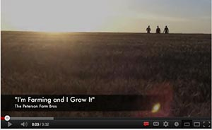 A screen snap shot of the beginning of the you tube video called I'm Farming and I Grow It by the Peterson brothers in Kansas